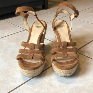 Ugg Callia Espadrille Tan Wedge Size 7.5